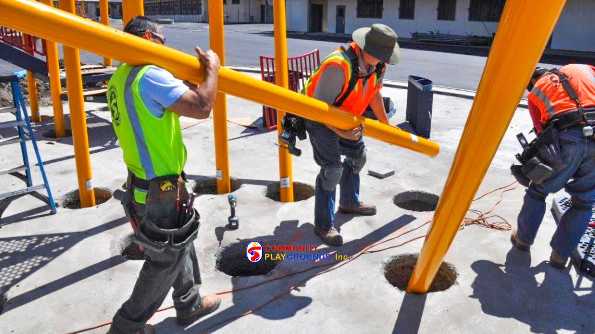 Playground Equipment Installers on the job site