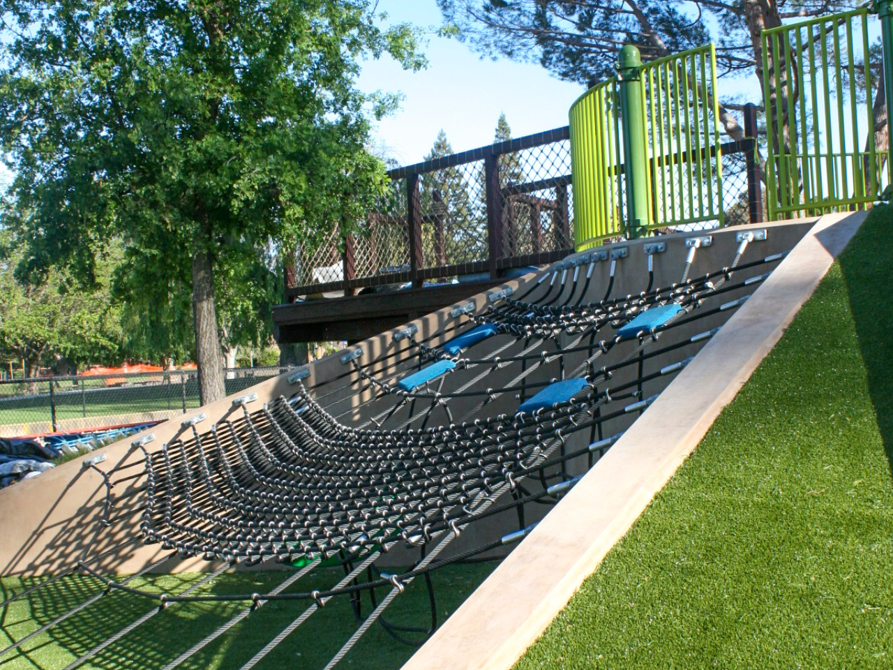 Playground Equipment Installers from Community Playgrounds installed Magical Bridge Rope Climb