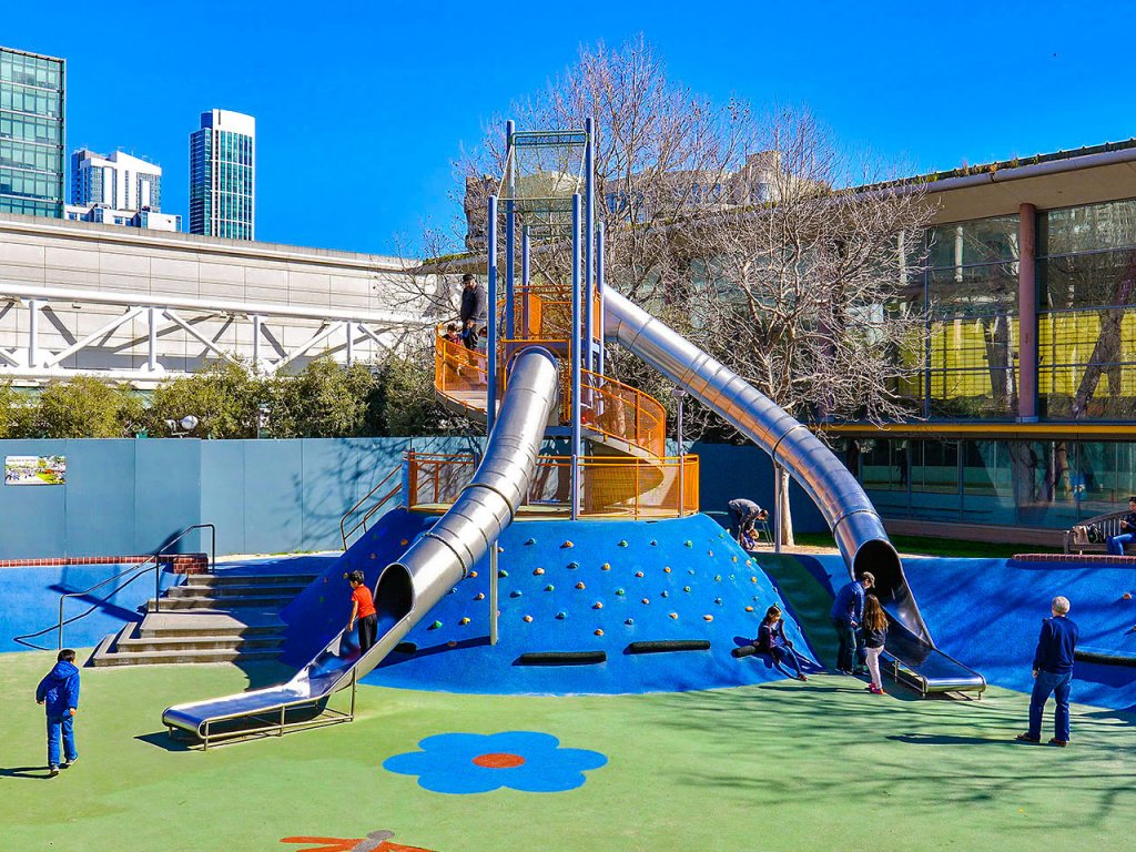 Community Playgrounds installed play equipment at Yerba Buena Gardens