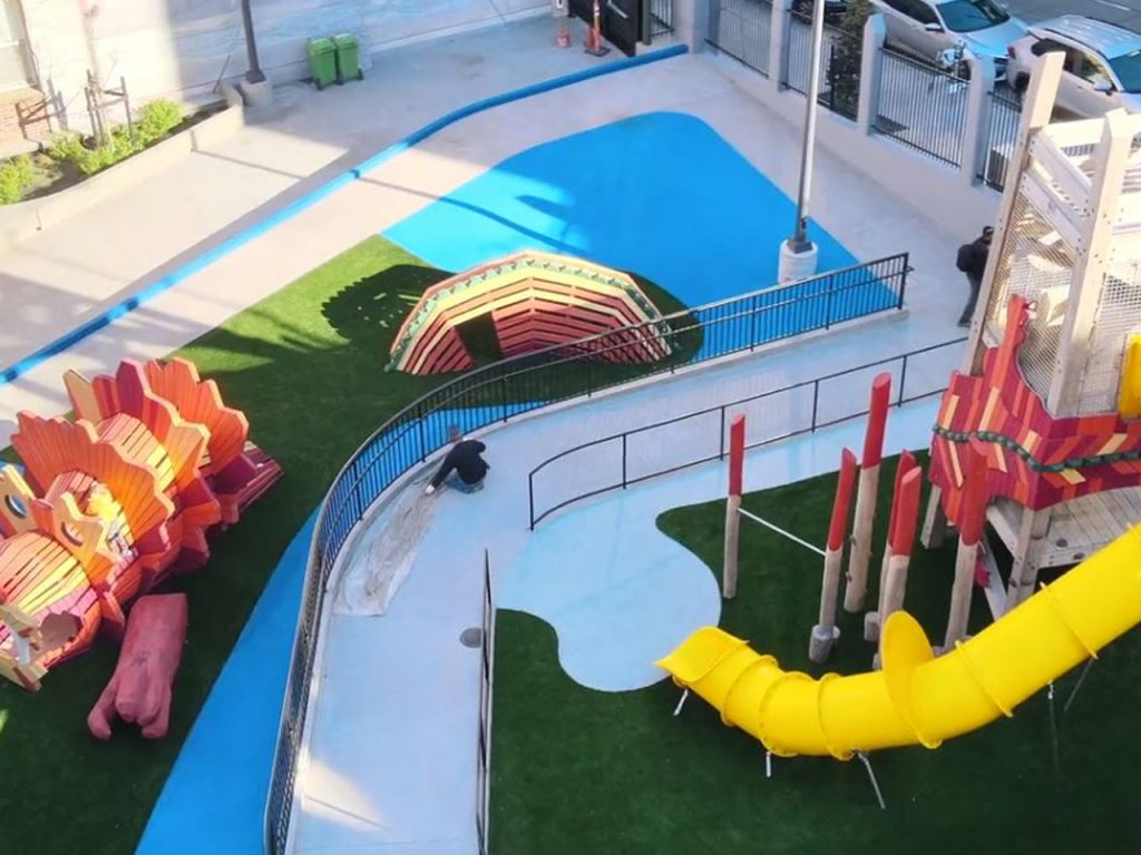 Willie Woo Woo aerial completed community playground